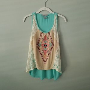 Flying Tomato Boho Sheer Embroidered Tank